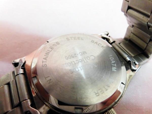 1742 Montres Collection 腕時計 モントレスコレクション MC-2500 銀色 文字盤白色 メンズ クオーツ【 動作可・除菌クリーニング済】_画像6