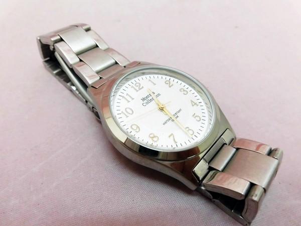 1742 Montres Collection 腕時計 モントレスコレクション MC-2500 銀色 文字盤白色 メンズ クオーツ【 動作可・除菌クリーニング済】_画像7