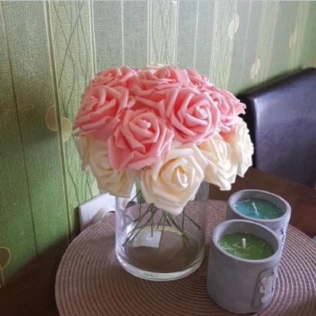 アートフラワー 人工PEローズ 25ヘッド 8センチ 新しい カラフル 花 花嫁 ブーケ ホーム 結婚式 装飾 DIY ギフト mt999_画像2