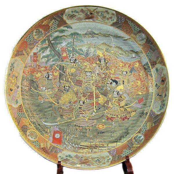 薩摩焼 武者絵 特大皿 直径約1m7cm 彩金 大皿 美術品 侍 武士 陶磁器