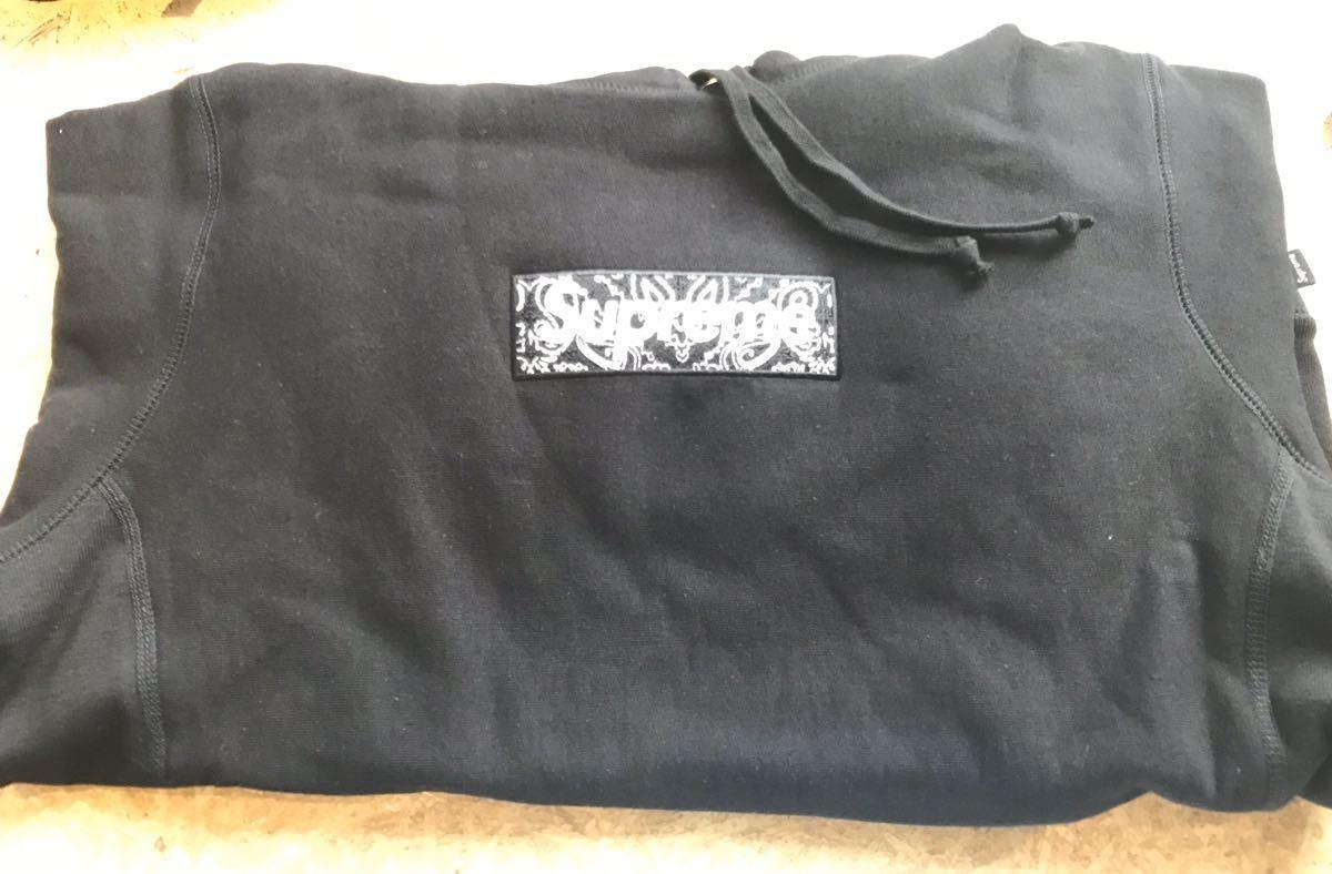 19aw S Supreme Bandana Box Logo Hooded Sweatshirt black シュプリーム ボックス ロゴ パーカー fw バンダナ HOODIE フーディー 黒