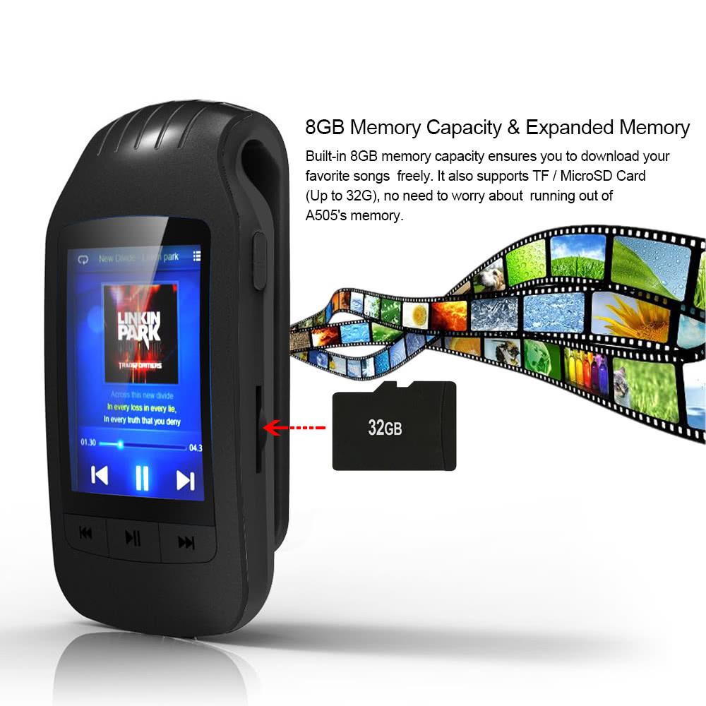 HOTT A505 クリップオン Bluetooth 8GB デジタル MP3 / MP4 プレーヤー グリーン 歩数計 カロリー消費 移動距離表示_画像7