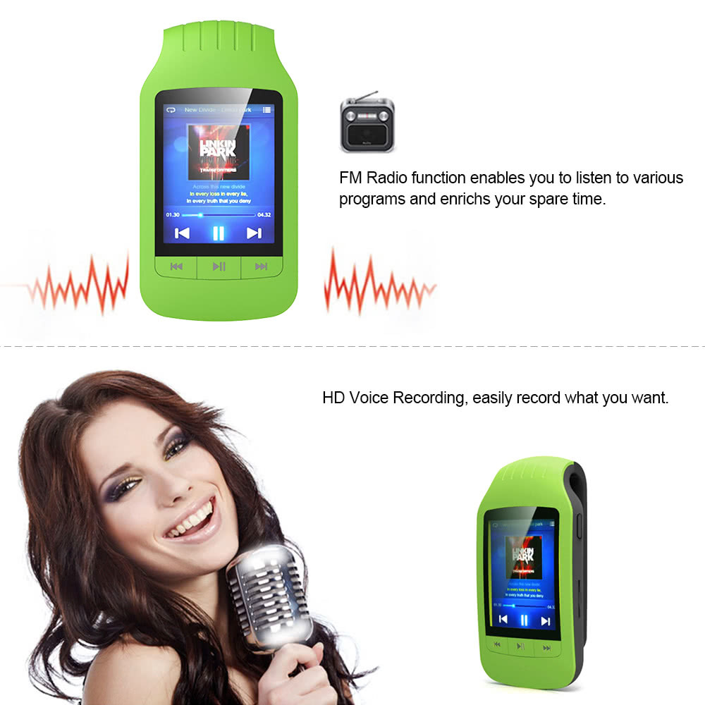 HOTT A505 クリップオン Bluetooth 8GB デジタル MP3 / MP4 プレーヤー グリーン 歩数計 カロリー消費 移動距離表示_画像9