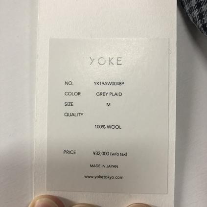 YOKE ヨーク 19AW FIVE COLORS PLAID WOOL 1TUCK WIDE TROUSERS パンツ グレー M_画像3