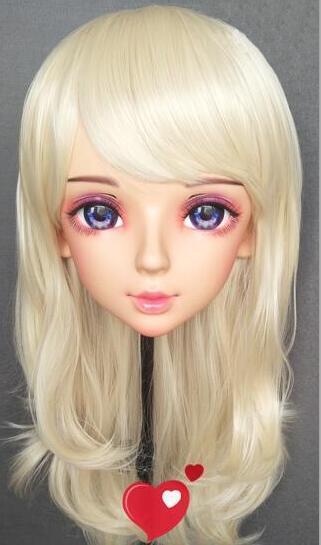 ★大好評 特別な化粧 金髪 美人 着ぐるみハーフマスク コスプレ kigurumi MASK FPR製 ヘッド変身・変装二次元 美少女 等身ハーフマスク★