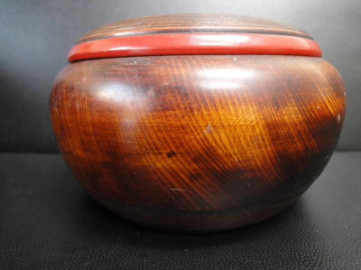 《中古》木製の小物・お菓子入れ 大鉢サイズ サラダボウルにも 蓋付き 横幅:20.5cm 高さ:12cm アンティーク風和食器 _画像5