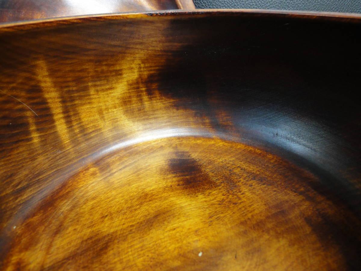 《中古》木製の小物・お菓子入れ 大鉢サイズ サラダボウルにも 蓋付き 横幅:20.5cm 高さ:12cm アンティーク風和食器 _画像8