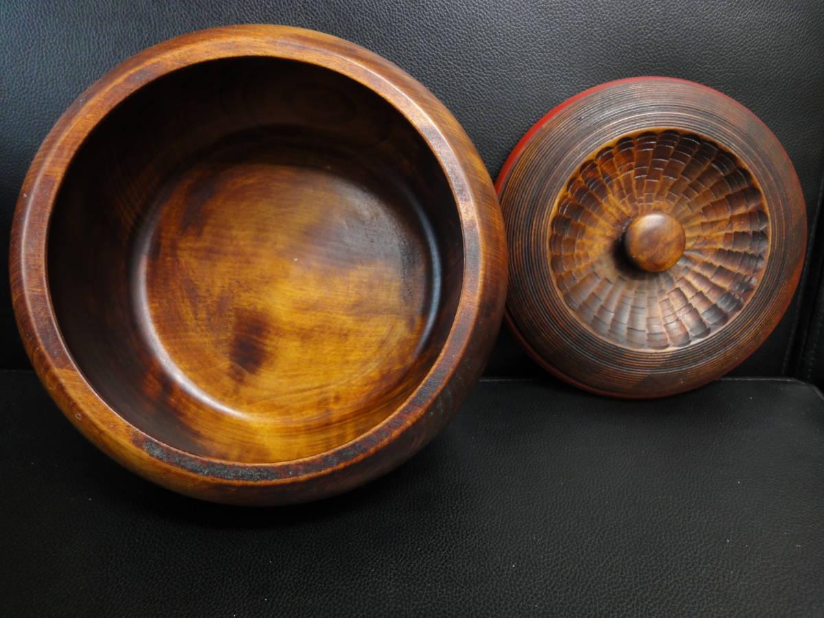 《中古》木製の小物・お菓子入れ 大鉢サイズ サラダボウルにも 蓋付き 横幅:20.5cm 高さ:12cm アンティーク風和食器 _画像2