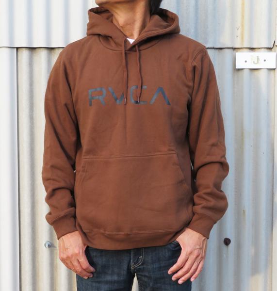 20%OFF/Sale!/新作/ルカ/RVCA メンズ BIG RVCA PULL パーカー/042012/DBR/size:S/ロゴプリントのみのシンプルなスウェット・パーカー!_画像1
