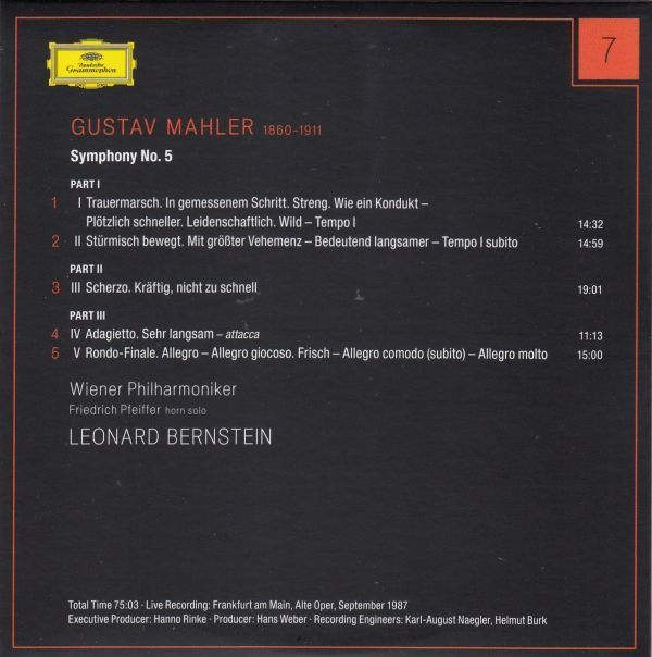 [CD/Dg]マーラー:交響曲第5番ハ短調/L.バーンスタイン&ウィーン・フィルハーモニー管弦楽団 1987.9_画像2