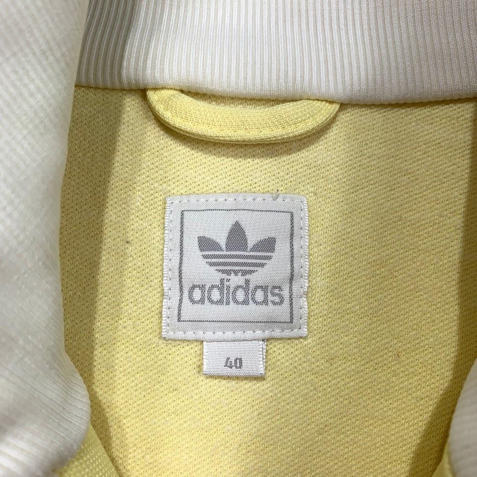 adidas ジャージ Oサイズ アディダス トレフォイル 3本ライン y-3 トラック ジャケット 万国旗 イエロー ホワイト レディース トップス_画像2