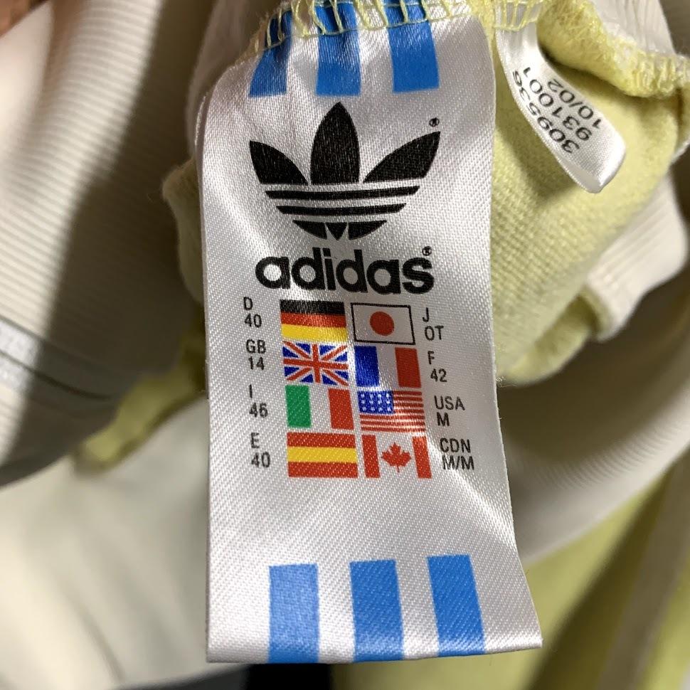 adidas ジャージ Oサイズ アディダス トレフォイル 3本ライン y-3 トラック ジャケット 万国旗 イエロー ホワイト レディース トップス_画像3