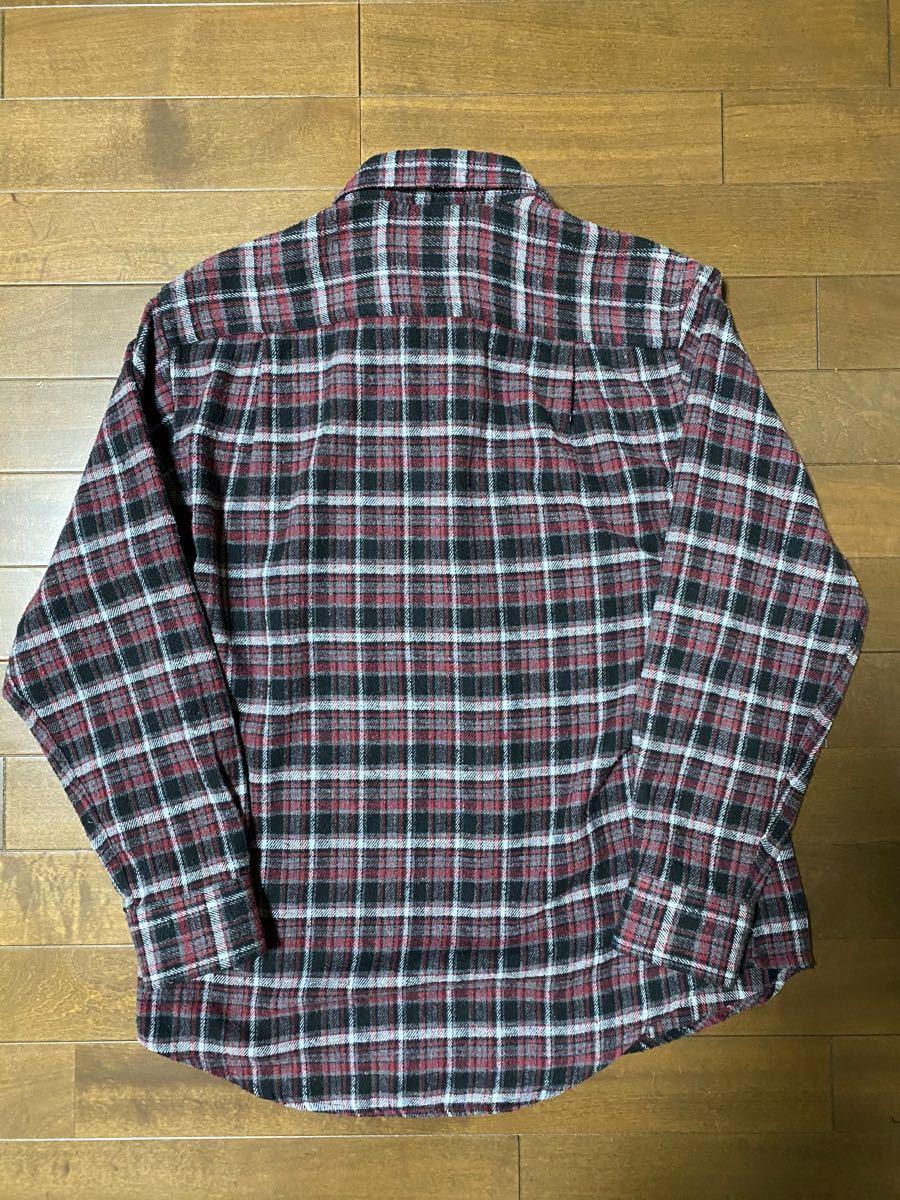 古着メンズ紳士レーヨン混チェックネルシャツ長袖M寸 ユニクロタータンGAPヘビー