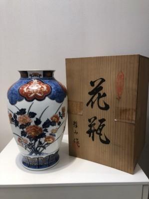 11278☆有田焼 肥前焼 哲山作 花瓶 花器 花入 骨董品 古美術品