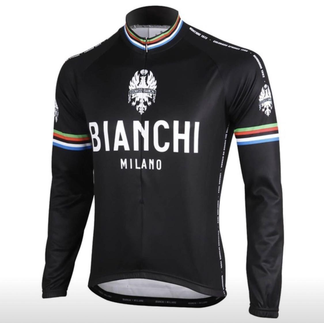 【送料無料】 サイクルジャージ 長袖 BIANCHI 黒 メンズL チェレステ イタリア トリコローレ ロードバイク ビアンキ giant felt trek