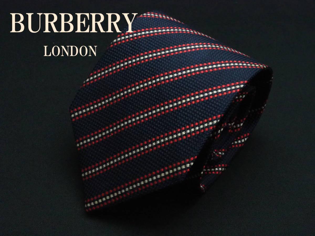 美品【BURBERRY】 バーバーリー ITALY イタリア製 (ネイビー レッド ホワイト) ネクタイ USED オールド ブランド シルク