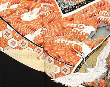 【送料無料】黒留袖★正絹★花鳥紋 ki23960【美品】_画像3