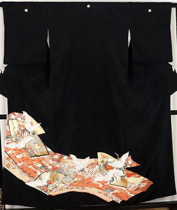 【送料無料】黒留袖★正絹★花鳥紋 ki23960【美品】_画像1