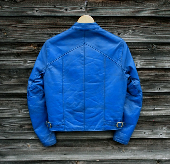 英国製 イギリス 極上 ヴィンテージ TTレザー レディース M メンズ XS ライダース ロンジャン 青 ブルー ロッカーズ カフェレーサー パンク_バックへのダメージ無、使用感も少ないです