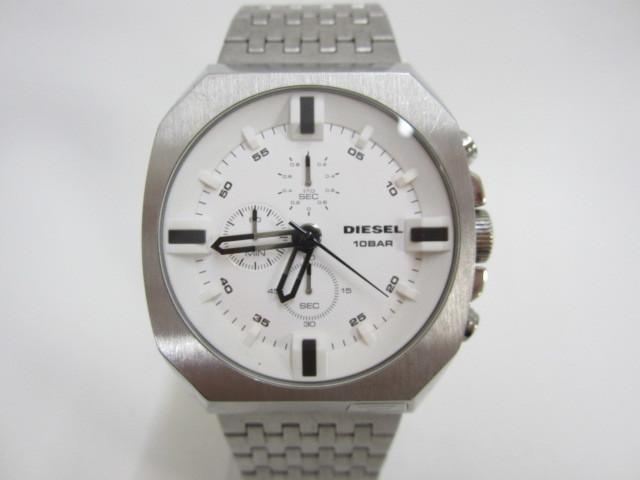 1円~DIESEL ディーゼル クロノグラフ 腕時計 メンズ DZ-4262 10BAR シルバー 不動品 ブランド ジャンク扱い 詳細不明