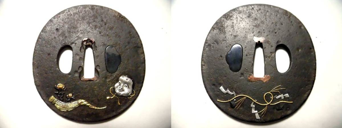 【鉄地 堅丸形 高彫り金銀象嵌 能面の図 大刀鍔 】 目貫