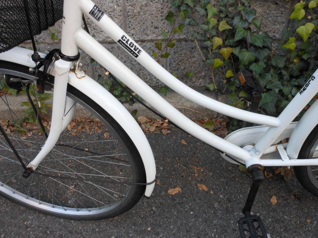 ◆L15◆後タイヤ新品◆フル装備◆整備/清掃済◆26インチ◆ホワイト◆ファッションサイクル◆ママチャリ◆中古自転車◆100%組立発送◆_画像7
