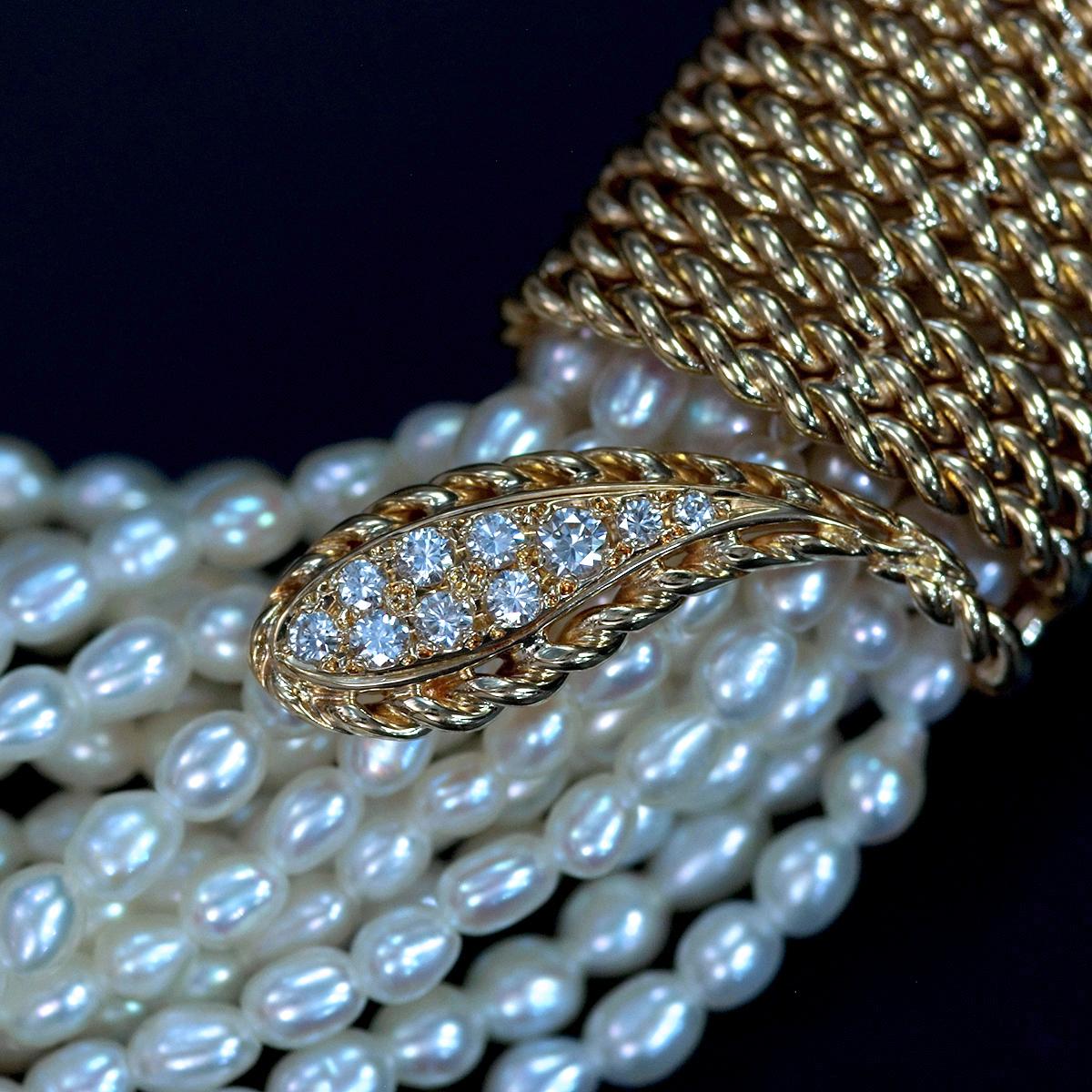 F0211【MIKIMOTO 1899】ミキモト パール 天然絶品ダイヤモンド0.33ct 最高級18金/14金無垢ネックレス 長さ42cm 重量87.5g 縦幅18.6mm_画像2