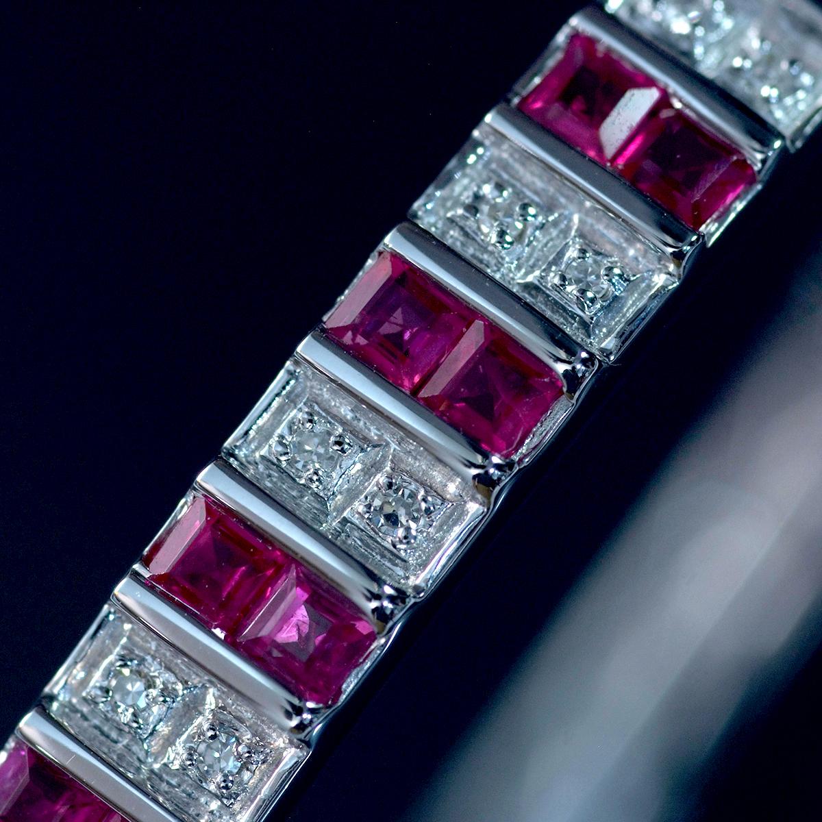 F0241 美しいルビー2.64ct 天然絶品ダイヤモンド0.12ct 最高級14金WG無垢バングル 腕周り15.5cm 重量15.06g 縦幅6.09mm_画像2