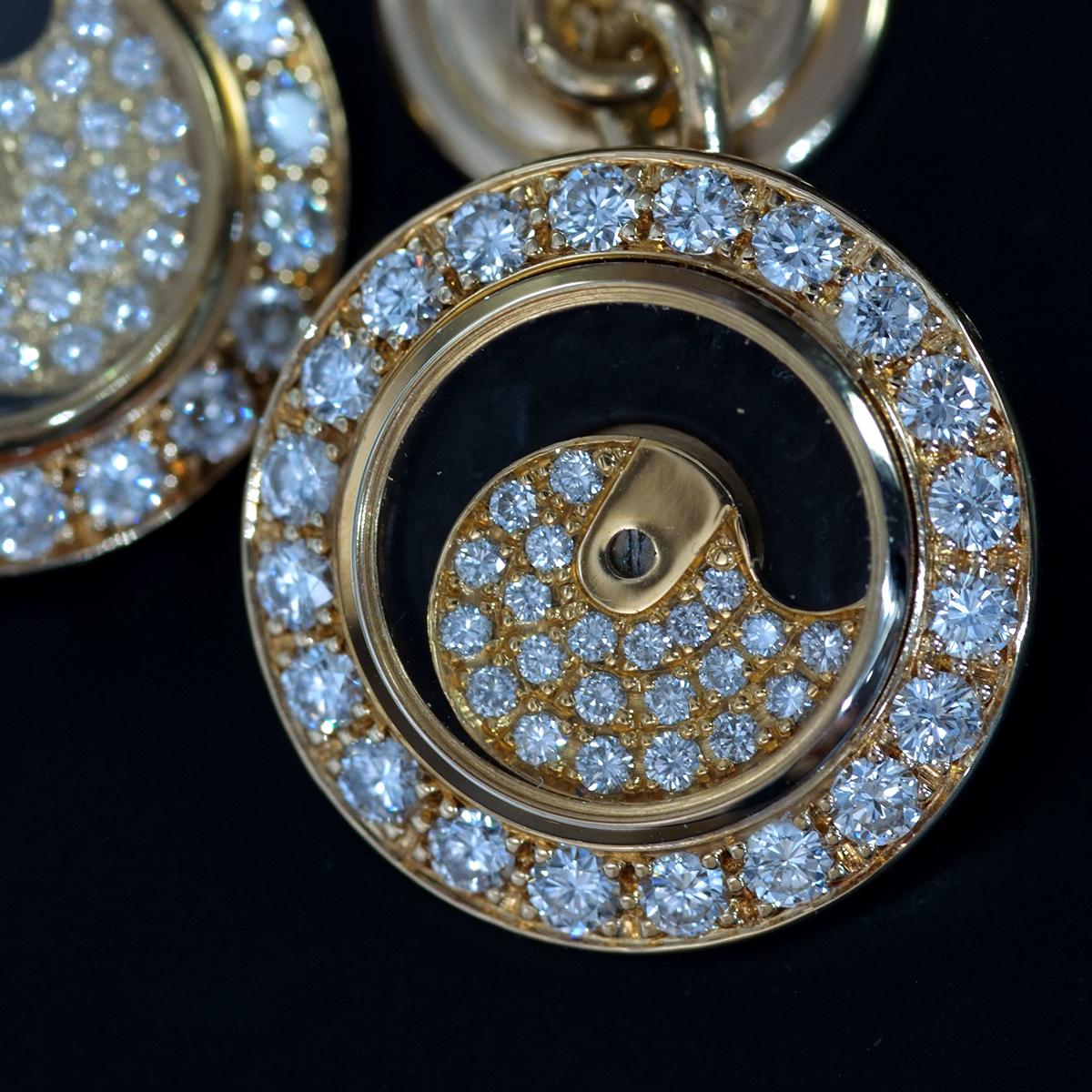 F0197【SARCAR】サーカー 天然絶品ダイヤモンド84pcs 最高級18金無垢セレブリティカフス 重量18.0g 幅16.7mm_画像3