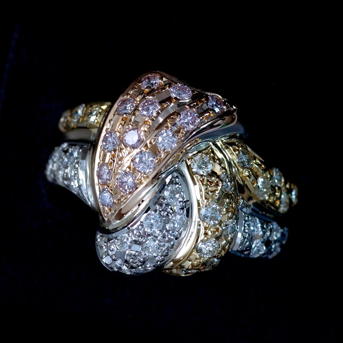 F0169 天然絶品ピンクダイヤモンド、カラーレスダイヤ1.00ct 最高級18金/PG/Pt900無垢リング サイズ12号 重量7.6g 縦幅17.3mm_画像2