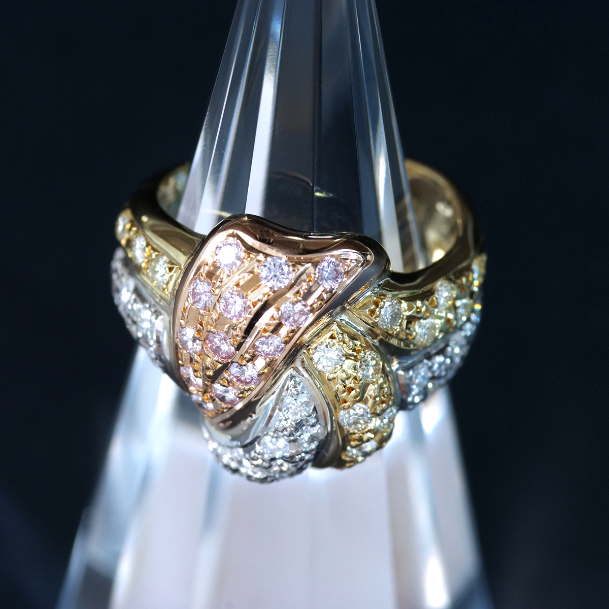F0169 天然絶品ピンクダイヤモンド、カラーレスダイヤ1.00ct 最高級18金/PG/Pt900無垢リング サイズ12号 重量7.6g 縦幅17.3mm_画像1
