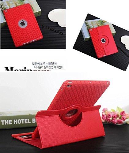 ipad mini4 レザーケース ミニ4 カバー ipad mini4 ケース アイパッドミニ4 カバー 全面保護 360度回転 カード収納 レッド_画像3