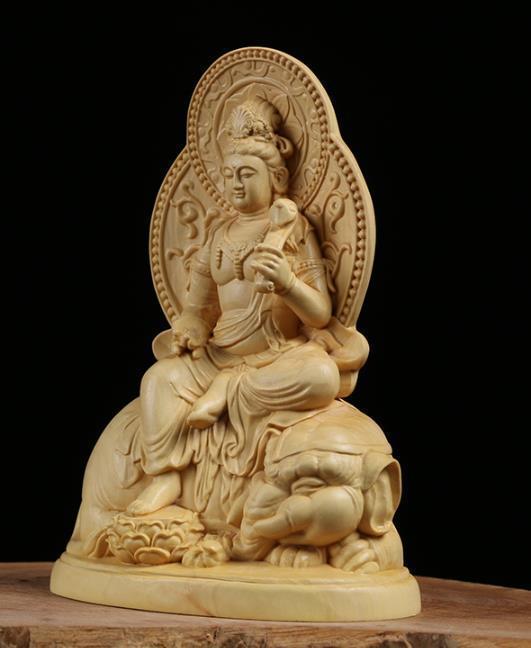 MD12仏教美術品 仏像 禅宗 普賢菩薩 仏像 東洋彫刻 立像 家飾り品 工芸品_画像2