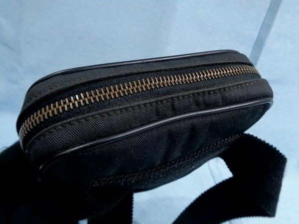 【美品/A】◆グッチ GUCCI◆グッチシマ ウエストバッグ ボディバッグ ロゴ・型押し キャンバス×レザー 黒 メンズ レディース
