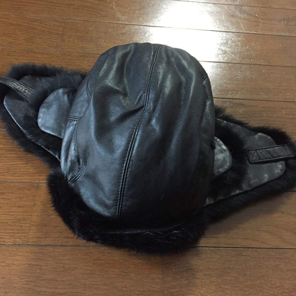 バーバリーブラックレーベル☆羊革レザーフライトキャップ