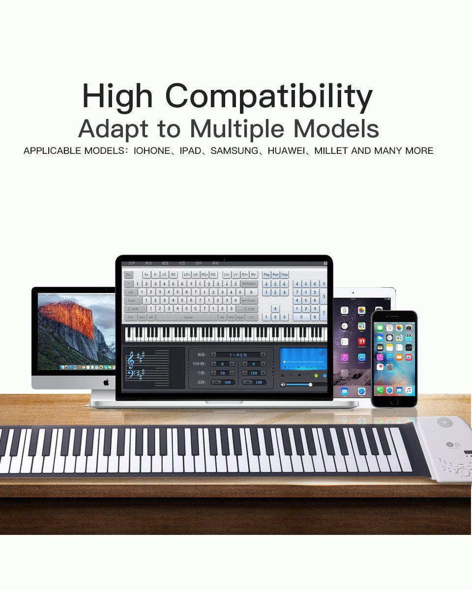 新品♪88キーピアノキーボードソフトポータブルミディデジタルコントローラシンセサイザーロールアップ電子楽器_画像5