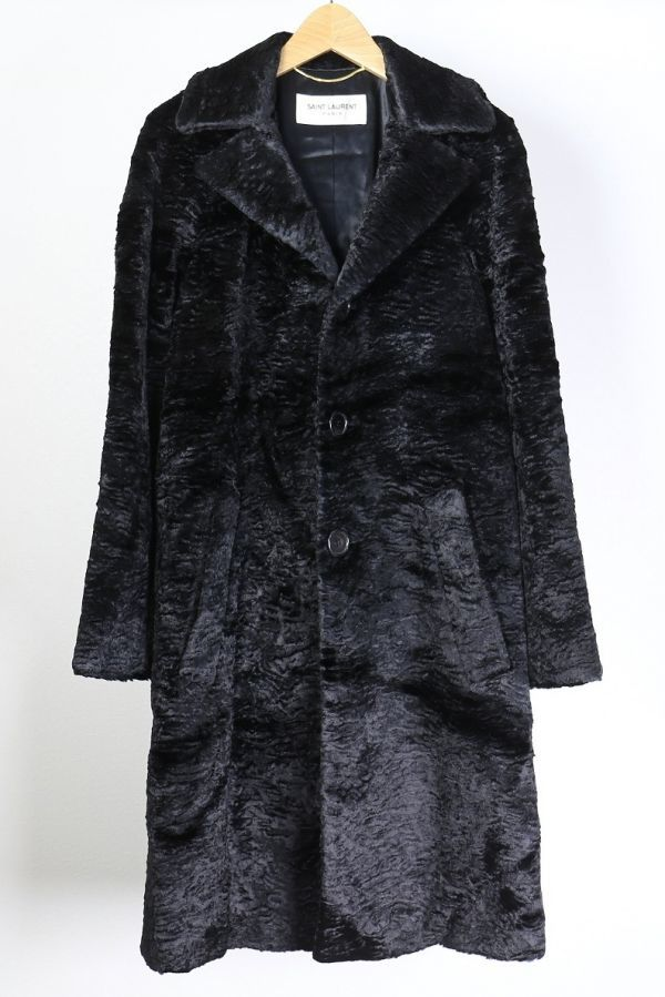 Saint Laurent Paris サンローランパリ アストラカン フェイク ファー オーバーサイズ チェスター コート黒34 b1692