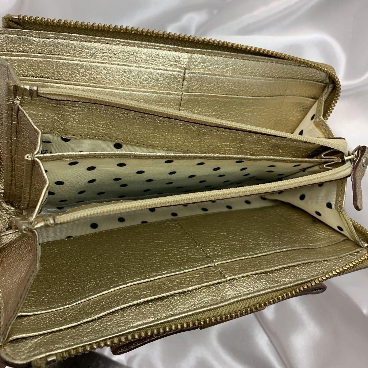 【WL18】ケイトスペード kate spade ラウンドファスナー ラメゴールド 長財布 内側ドット柄 リボン装飾 小銭入れ