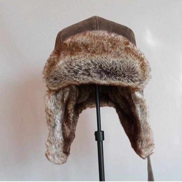 パイロット飛行士トラッパー帽子 フェイクファーレザースノーキャップ 耳フラップあり A364_画像3