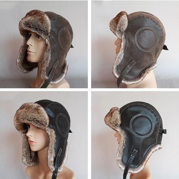 パイロット飛行士トラッパー帽子 フェイクファーレザースノーキャップ 耳フラップあり A364