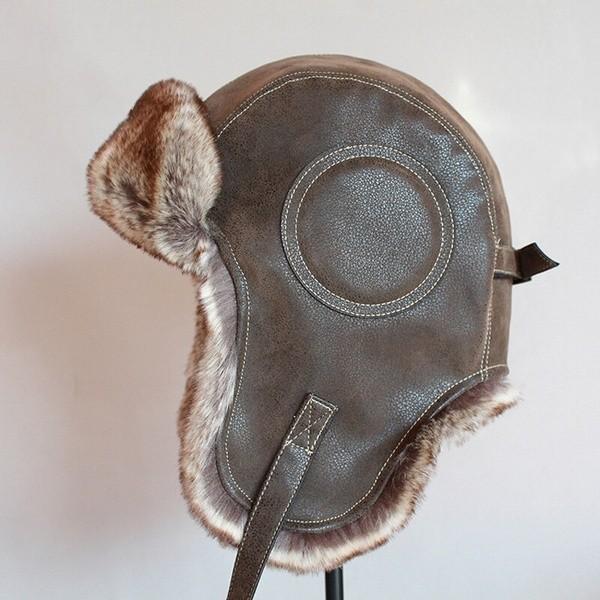 パイロット飛行士トラッパー帽子 フェイクファーレザースノーキャップ 耳フラップあり A364_画像8