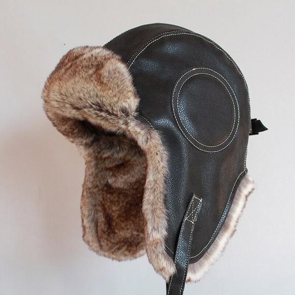 パイロット飛行士トラッパー帽子 フェイクファーレザースノーキャップ 耳フラップあり A364_画像2