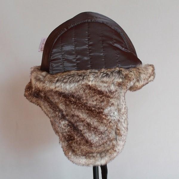 パイロット飛行士トラッパー帽子 フェイクファーレザースノーキャップ 耳フラップあり A364_画像6