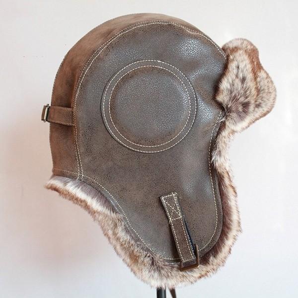 パイロット飛行士トラッパー帽子 フェイクファーレザースノーキャップ 耳フラップあり A364_画像7