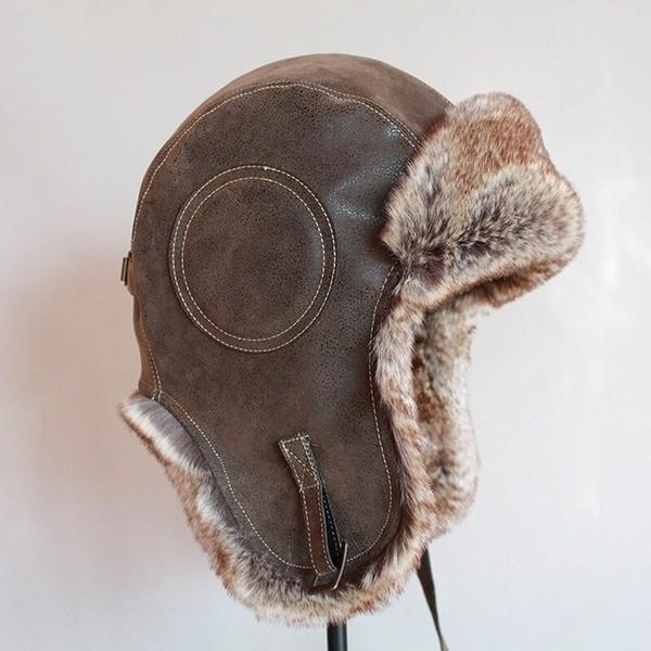 パイロット飛行士トラッパー帽子 フェイクファーレザースノーキャップ 耳フラップあり A364_画像4