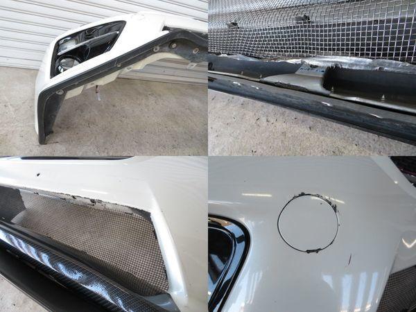 純正 VAB WRX STi 前期 フロントバンパー (ロアダクト加工済み) グリル フォグカバー + 社外 リップスポイラー カーボン調 ロアパネル_ガリ傷 ダクト加工 下部ガリ
