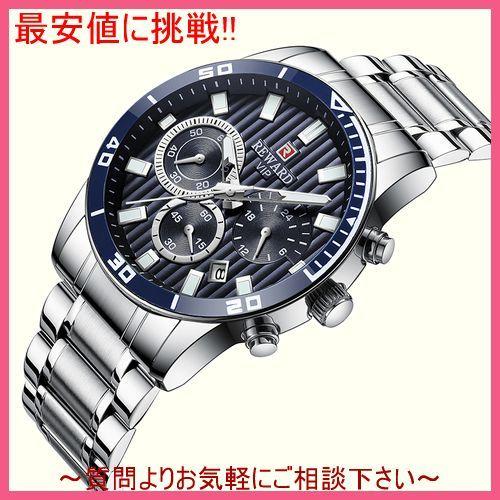 シルバーブラック メンズ 腕時計 クォーツ式 スポーツウォッチ クロノグラフ 防水 カレンダー 日付 多機能 紳士_画像2