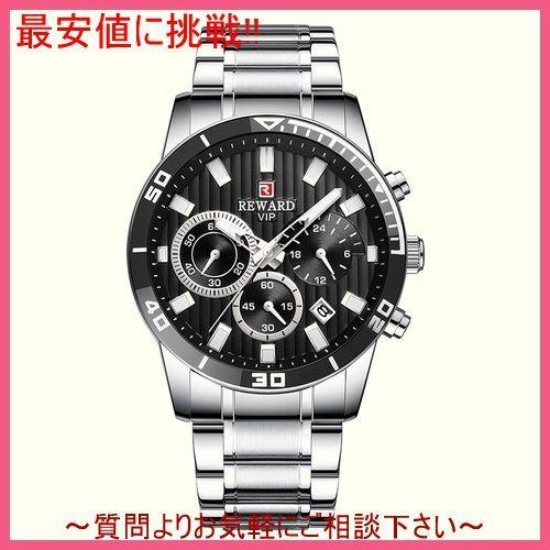 シルバーブラック メンズ 腕時計 クォーツ式 スポーツウォッチ クロノグラフ 防水 カレンダー 日付 多機能 紳士_画像1
