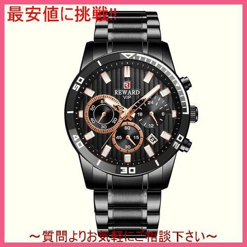 ブラック メンズ 腕時計 クォーツ式 スポーツウォッチ クロノグラフ 防水 カレンダー 日付 多機能 紳士_画像1