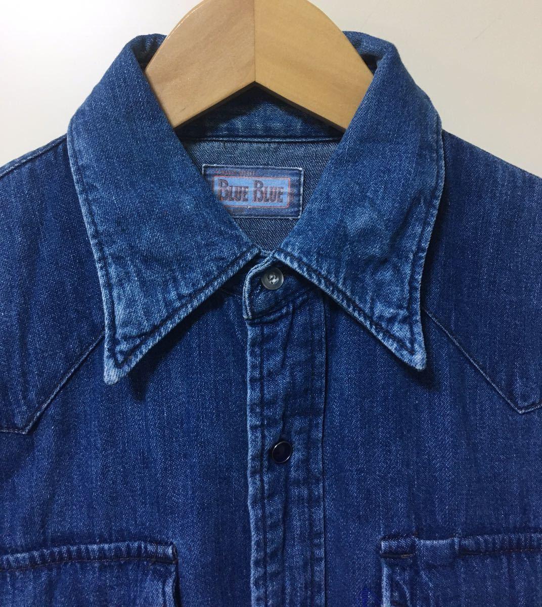 BLUE BLUE ブルーブルー 長袖 デニム素材 ウエスタンシャツ ハリウッドランチマーケット 裏地ポケット サイズ 1 日本製_画像3